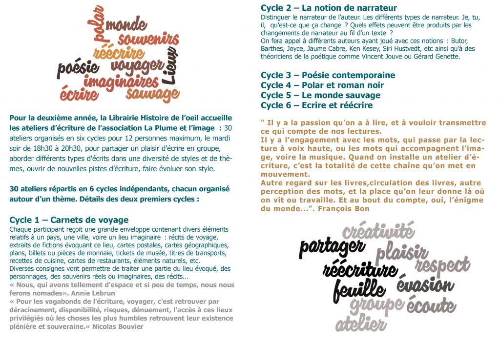 Ateliers d'écriture La plume et l'image à Histoire de l'oeil 2014-2015