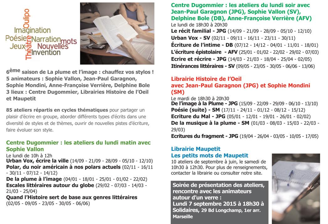 Programme des ateliers d'écriture de La plume et l'image pour la saison 2015-2016