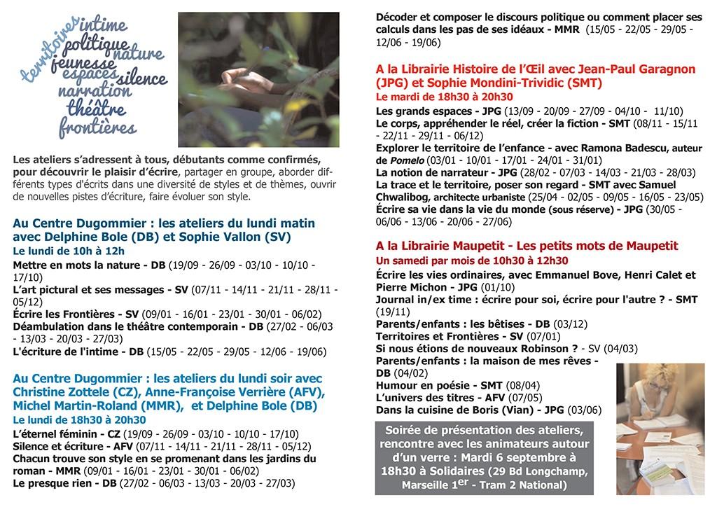 Programme ateliers d'écriture La plume et l'image 2016-2017